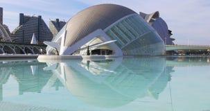 Spain valencia hemesferic planetarium day light fountain panorama 4k spain stock footage