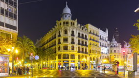 Spain valencia night light decoration main traffic crossroad 4k time lapse. Valencia night light decoration main traffic crossroad 4k time lapse spain stock footage