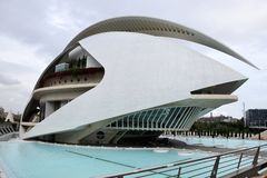 Spain, Valencia, opera, Palace of arts Reina Sofia. In Spain, the opera of Valencia is a colossal building of futuristic style in the shape of boat, an immense royalty free stock photo