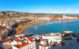 spain Valencia, Peniscola Vista del mare da un'altezza del Po Fotografie Stock Libere da Diritti