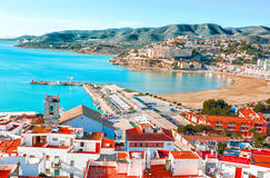 spain Valencia, Peniscola Vista del mare da un'altezza del Po Immagini Stock Libere da Diritti