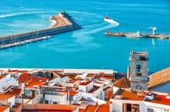 spain Valencia, Peniscola Vista del mare da un'altezza del Po Immagini Stock