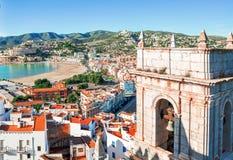 spain Valencia, Peniscola Vista del mare da un'altezza del Po Fotografia Stock Libera da Diritti