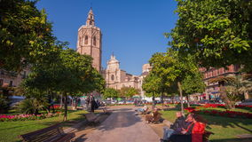 Spain valencia sunny day cathedral park road 4k time lapse. Valencia sunny day cathedral park road 4k time lapse spain stock video