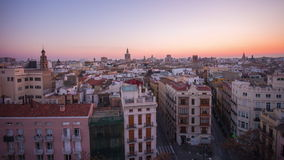 Spain valencia sunset city panorama from torres de serranos 4k time lapse stock footage