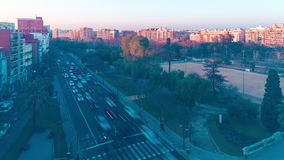 Spain valencia sunset traffic street high view 4k time lapse. Valencia sunset traffic street high view 4k time lapse spain stock footage