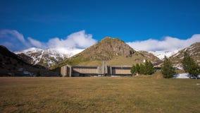 Spain vall de nuria train station mountain resort panorama 4k time lapse stock footage