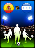 Spain versus Honduras on Stadium Event Background Stock Images
