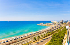 Spain. View of the coast Tarragona: sea, railway and petrochemical plant Stock Image