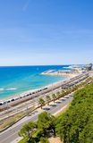 Spain. View of the coast Tarragona: sea, railway and petrochemical plant Royalty Free Stock Photos