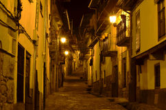 Spain village by night. CAndelario,Salamanca.Street on a typical mountain village royalty free stock photo