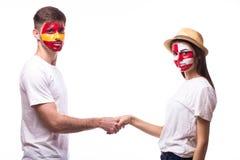 Spain vs Croatia friendly handshake on equal game Stock Photo
