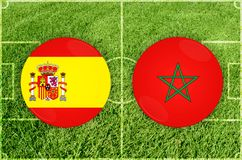 Spain vs Morocco football match Stock Photos