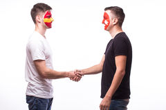 Spain vs Turkey friendly handshake of  equal game on white background Royalty Free Stock Photos