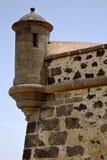 Spain the wall caand door  in teguise arrecife lanzarote Royalty Free Stock Images