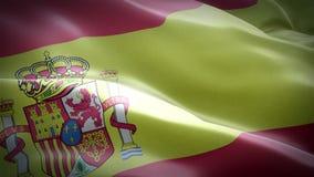 Spain waving flag. National 3d Spanish flag waving. Sign of Spain seamless loop animation. Spanish flag HD resolution Background. vector illustration
