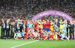 Spain - the winner of UEFA EURO 2012. KYIV, UKRAINE - JULY 1, 2012: Spain national football team celebrates their winning of the UEFA EURO 2012 Championship Stock Image