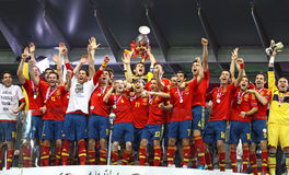 Spain - the winner of UEFA EURO 2012. KYIV, UKRAINE - JULY 1, 2012: Spain national football team celebrates their winning of the UEFA EURO 2012 Championship Royalty Free Stock Photos