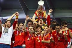 Spain - the winner of UEFA EURO 2012. KYIV, UKRAINE - JULY 1, 2012: Spain national football team celebrates their winning of the UEFA EURO 2012 Championship Stock Images