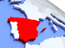Spain on world map Stock Photography