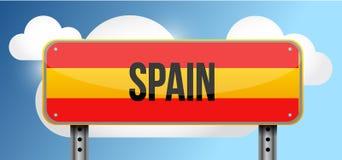 Spain yellow street road sign illustration Royalty Free Stock Photos