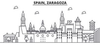 Spain, Zaragoza architecture line skyline illustration. Linear vector cityscape with famous landmarks, city sights. Design icons. Editable strokes Royalty Free Stock Photography