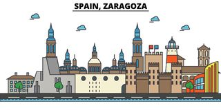 Spain, Zaragoza. City skyline architecture . Editable. Spain, Zaragoza. City skyline architecture, buildings, streets, silhouette, landscape, panorama landmarks Royalty Free Stock Images