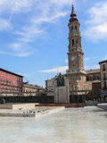 Spain. Zaragoza. Francisco Goya. Square of the Two Cathedrals. Monument to Francisco Goya, one of the greatest Spanish painters, and the cathedral named La Seo stock photo