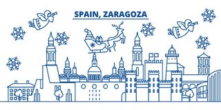 Spain, Zaragoza winter city skyline. Merry Christmas, Happy. New Year decorated banner with Santa Claus.Winter greeting line card.Flat, outline vector. Linear Stock Photography