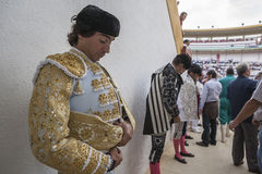 Spainish bullfighter Curro Diaz totally focused moments before l Stock Images