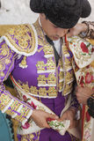 Spainish bullfighter Jose Maria Manzanares putting itself the wa Stock Image