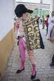Spainish bullfighter Jose Tomas putting itself the walk cape in Royalty Free Stock Photography