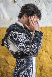 Spainish bullfighter Miguel Abellan totally focused moments befo Stock Image