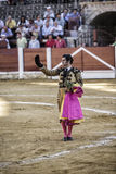Spainish bullfighter Morante de la Puebla with montera in right hand and left hand rosemary thanking the public at the end of his Stock Photo