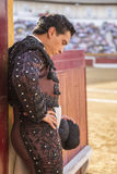 Spainish bullfighter totally focused moments before leaving to f Royalty Free Stock Photo