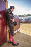Spainish bullfighter totally focused moments before leaving to f Royalty Free Stock Images