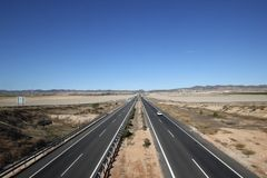 Spains new roads. Autovia Murcia, the A-30 between Murcia and Cartagena illustrating the new roads with relatively light traffic, built in Spain Royalty Free Stock Images