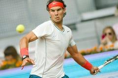 Spains Rafael Nadal en la acción durante el tenis Ope de Madrid Mutua Imagen de archivo