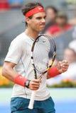 Spains Rafael Nadal en la acción durante el tenis Ope de Madrid Mutua Foto de archivo