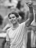 Spains Rafael Nadal en la acción durante el tenis Ope de Madrid Mutua Imagenes de archivo