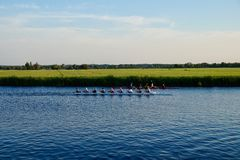 Rowers on a Dutch canal with scenic grass and farmland stock photo