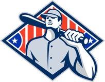 Spalla del pipistrello del battitore della pastella di baseball retro Fotografia Stock Libera da Diritti