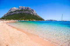 Spalmatore海滩在Tavolara海岛,撒丁岛,意大利 免版税库存图片