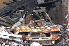 spalony samochód zdjęcie stock