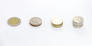 Spalte der Münze des thailändischen Baht in einem 10-Baht-Wert Lizenzfreie Stockfotos