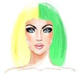 Spalte-gefärbte Haar-Tendenz Universalschablone für Grußkarte, Webseite, Hintergrund Hälfte gefärbtes Haar Arttendenz vektor abbildung