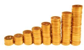 Spalten der Münzen Stockbild