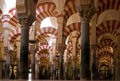Spalten in der Moschee Stockbilder