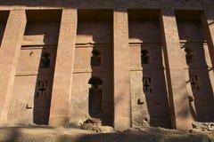 Spalten der stein-gehauenen Kirche, Lalibela, Äthiopien Der meiste populäre Platz in Vietnam Lizenzfreies Stockfoto