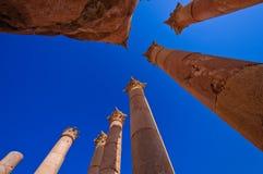 Spalten im Tempel von Artemis, Jerash Jordanien Stockfotografie